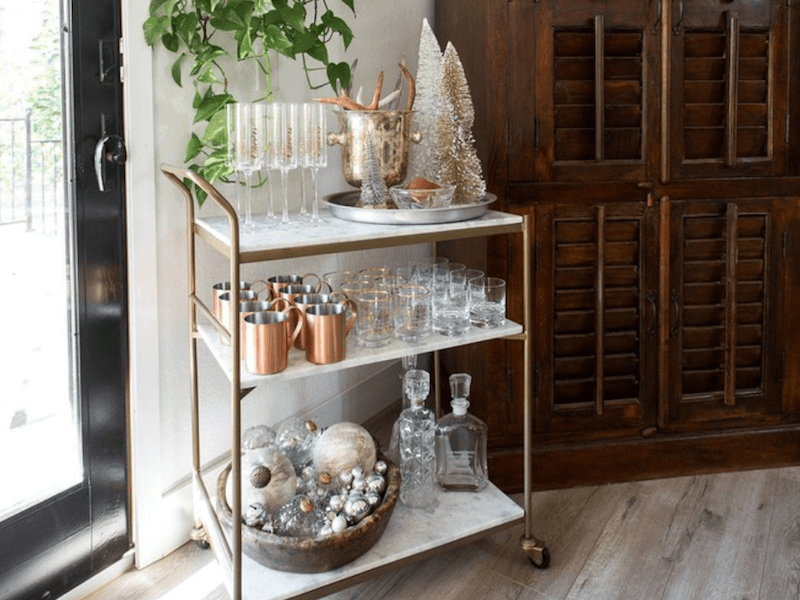bar cart with glassware