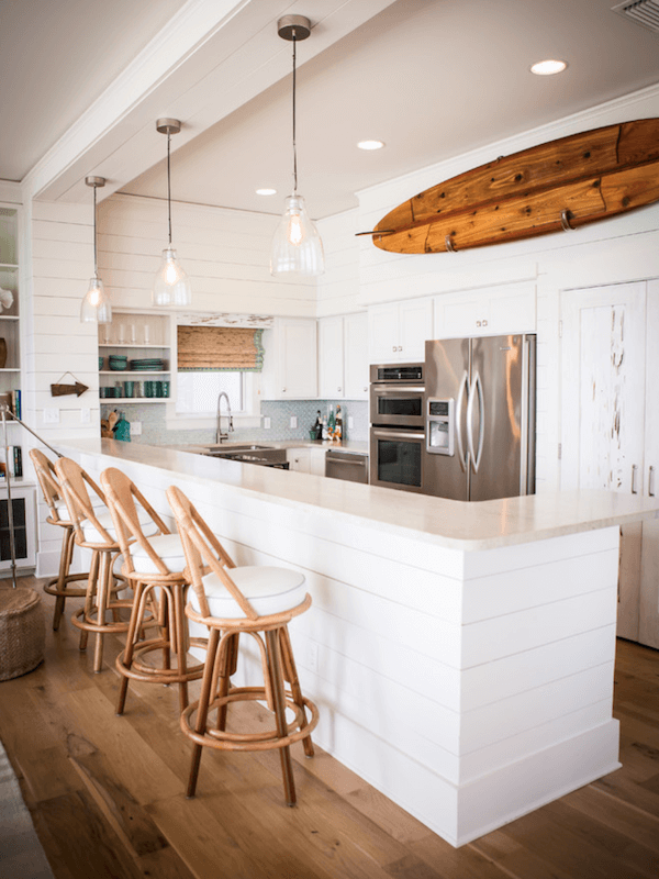 surfboards in home decor - kitchen
