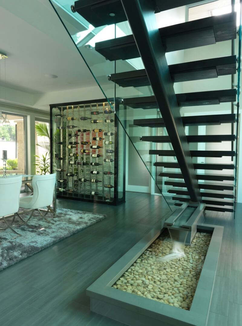 Indoor Water Feature Under Staircase