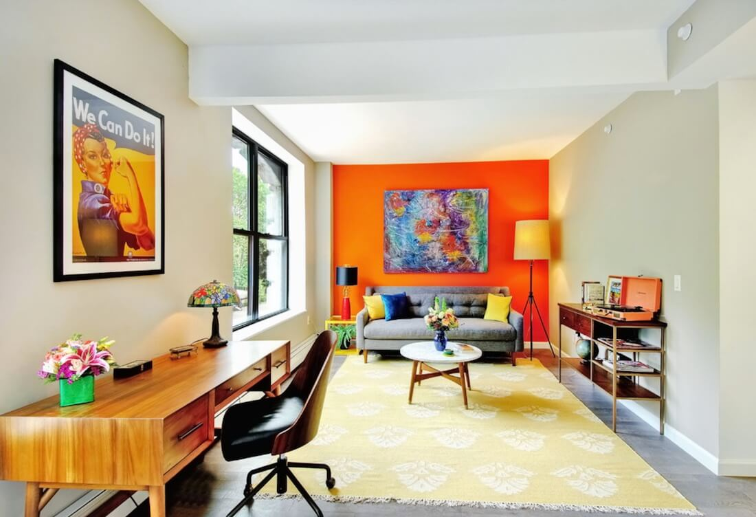 Multiple Accent Colors Orange Wall