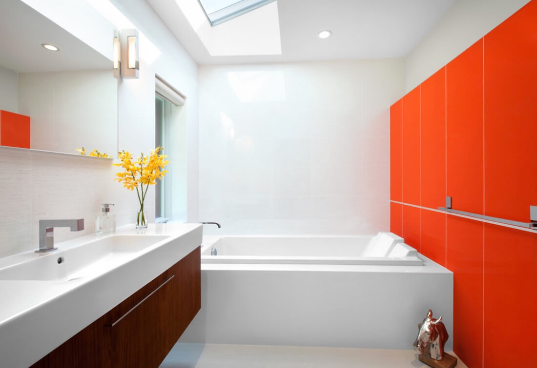 Multiple Accent Colors Orange Bathroom Wall