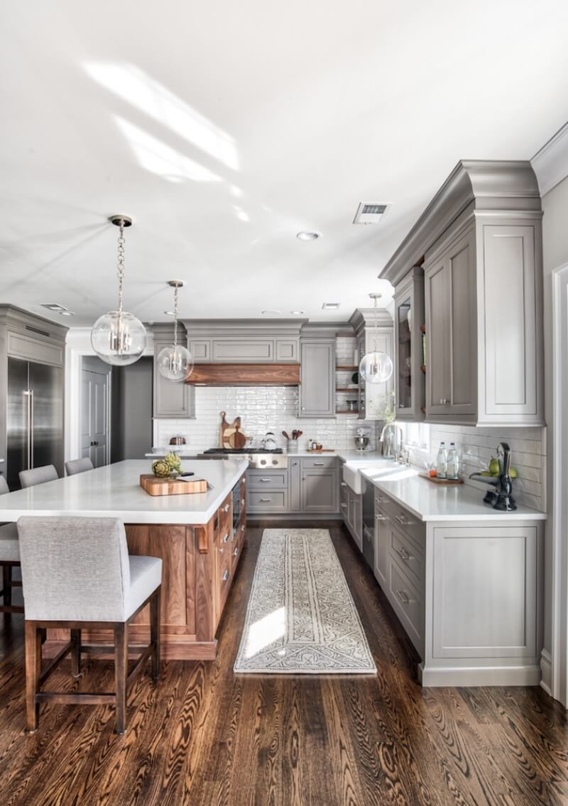 Wood Textures in the Kitchen Gray Cabinets