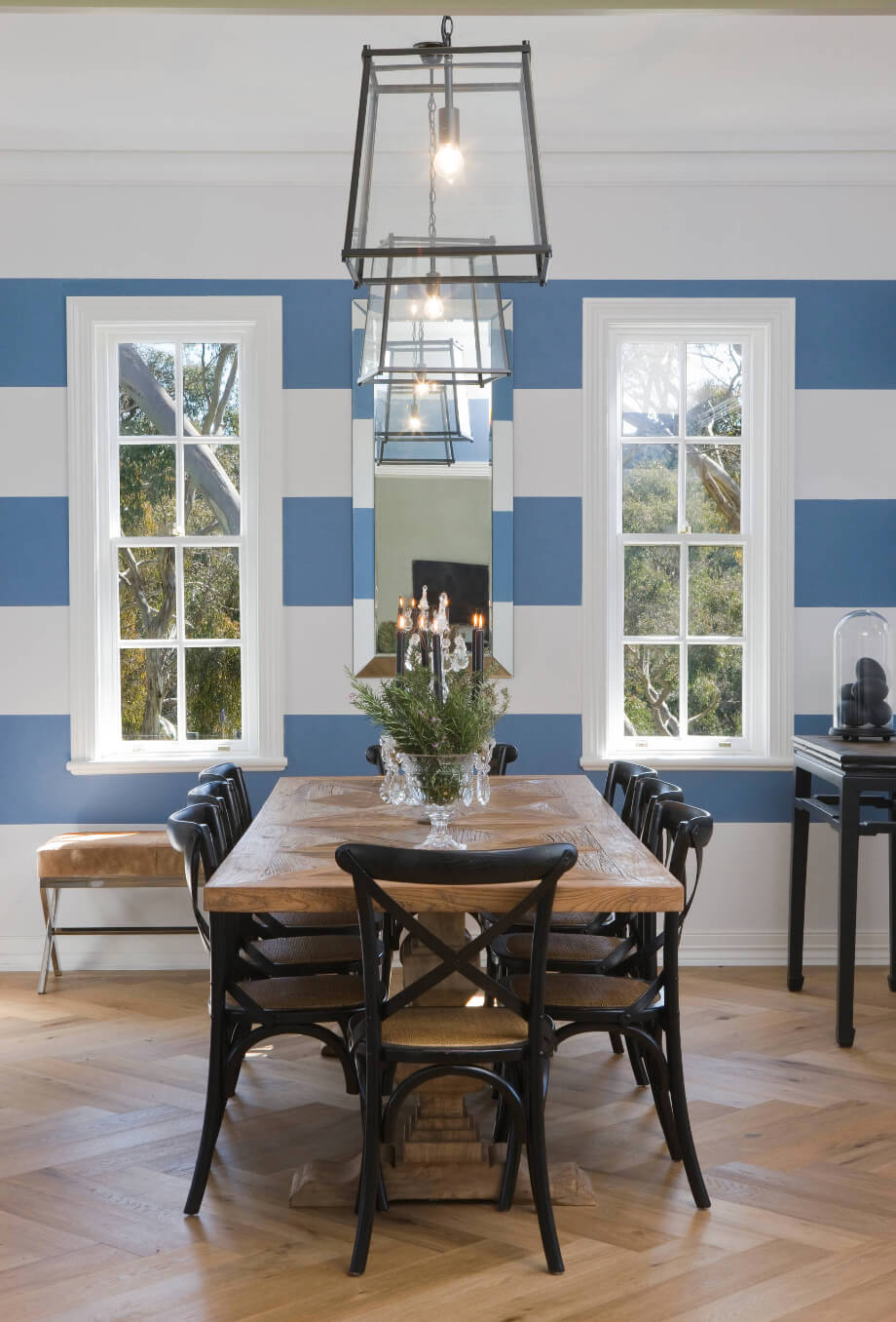 Striped Dining Room Wall