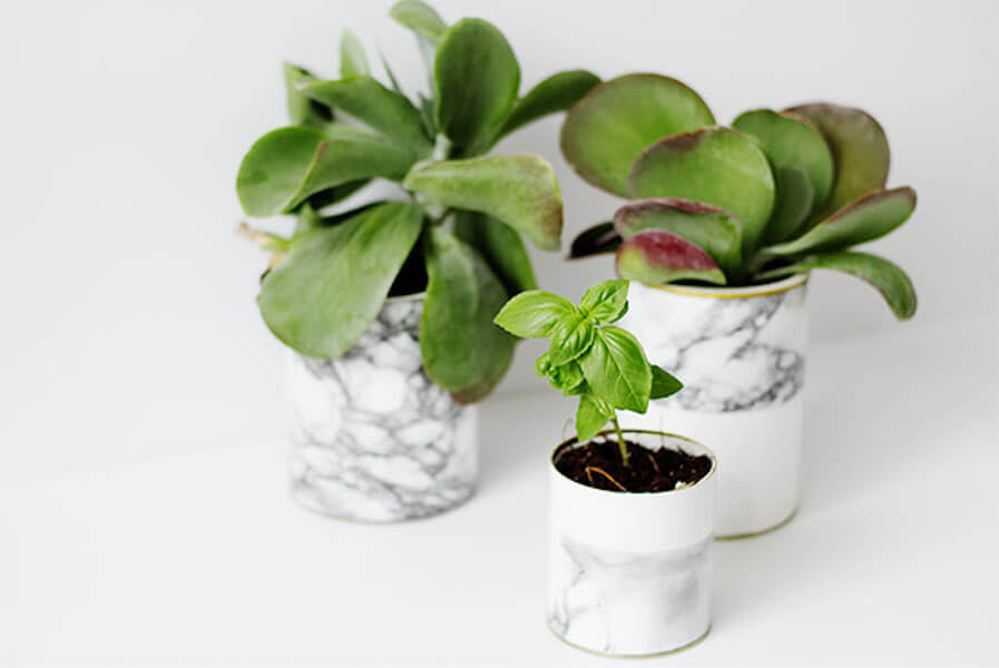 diy marble contact paper planters