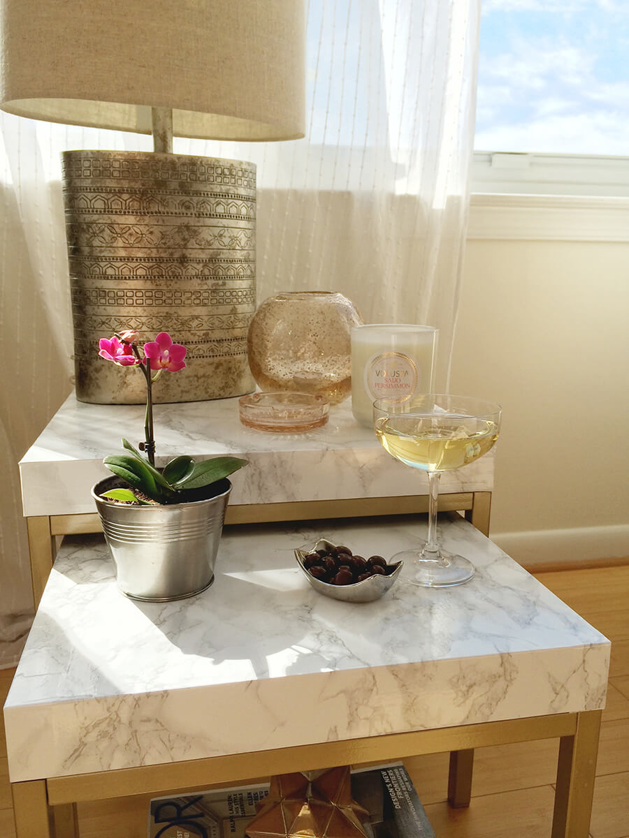 diy marble contact paper table