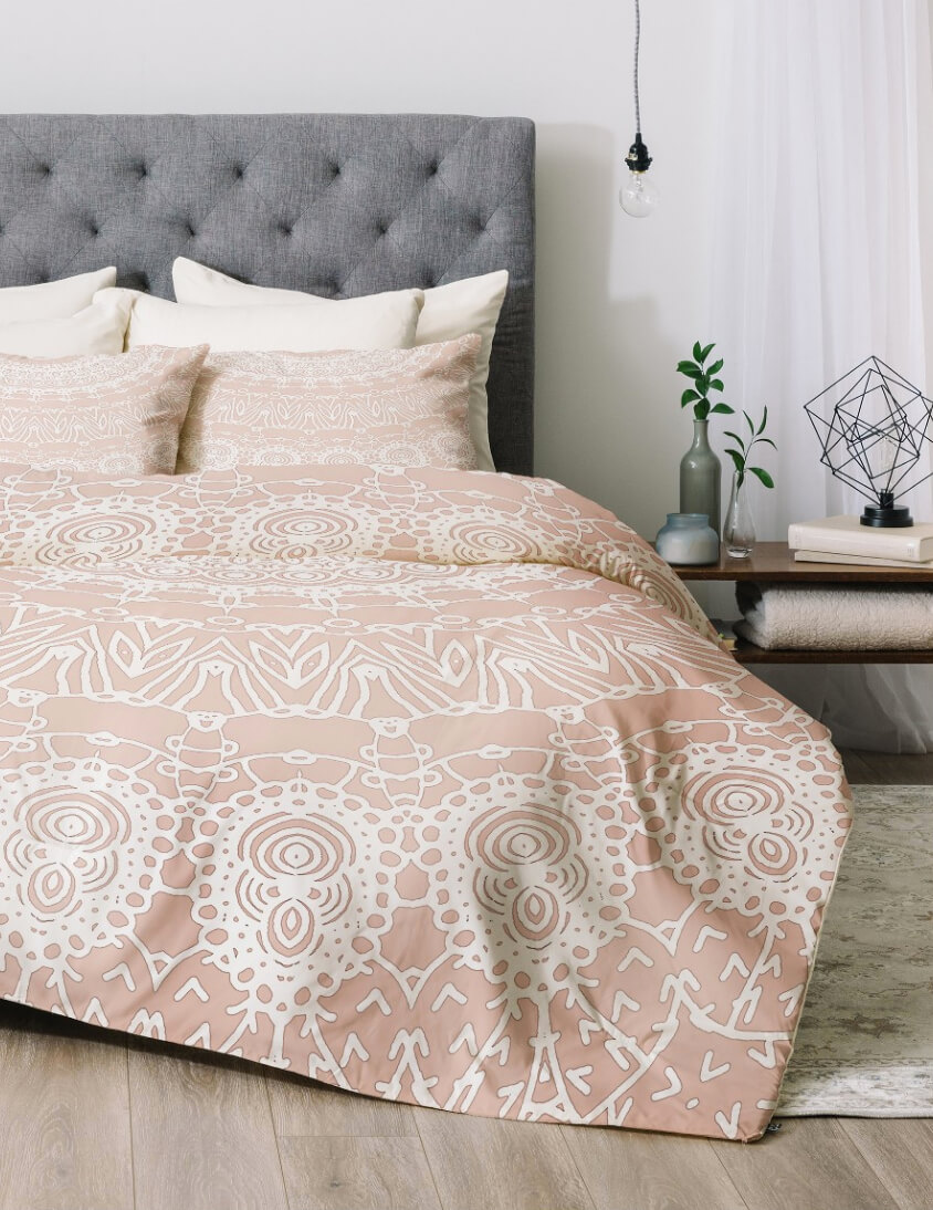 pink and gray bedding