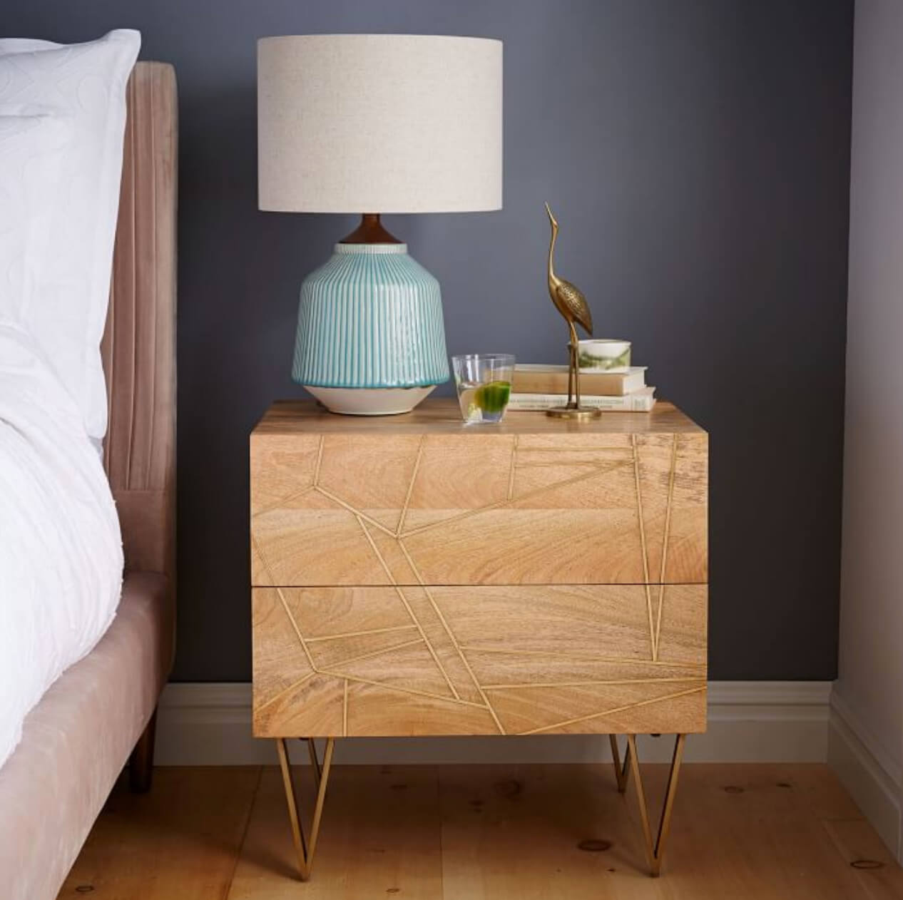 West Elm styled nightstand