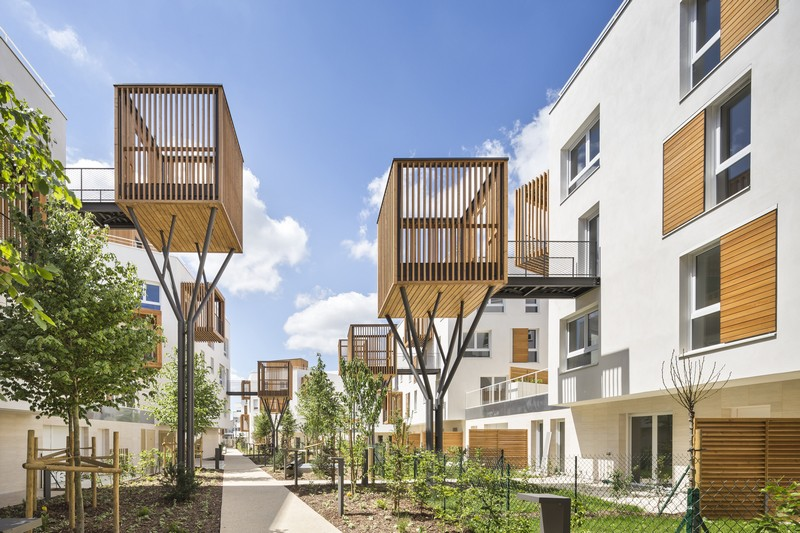 Residential Neighborhood in France Adds Wooden Terraces