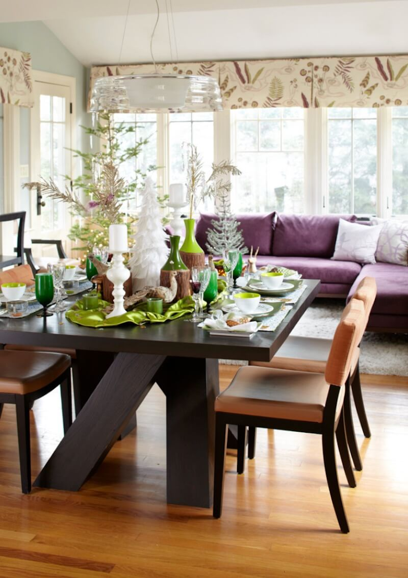 Country Christmas Table Setting Bright Green