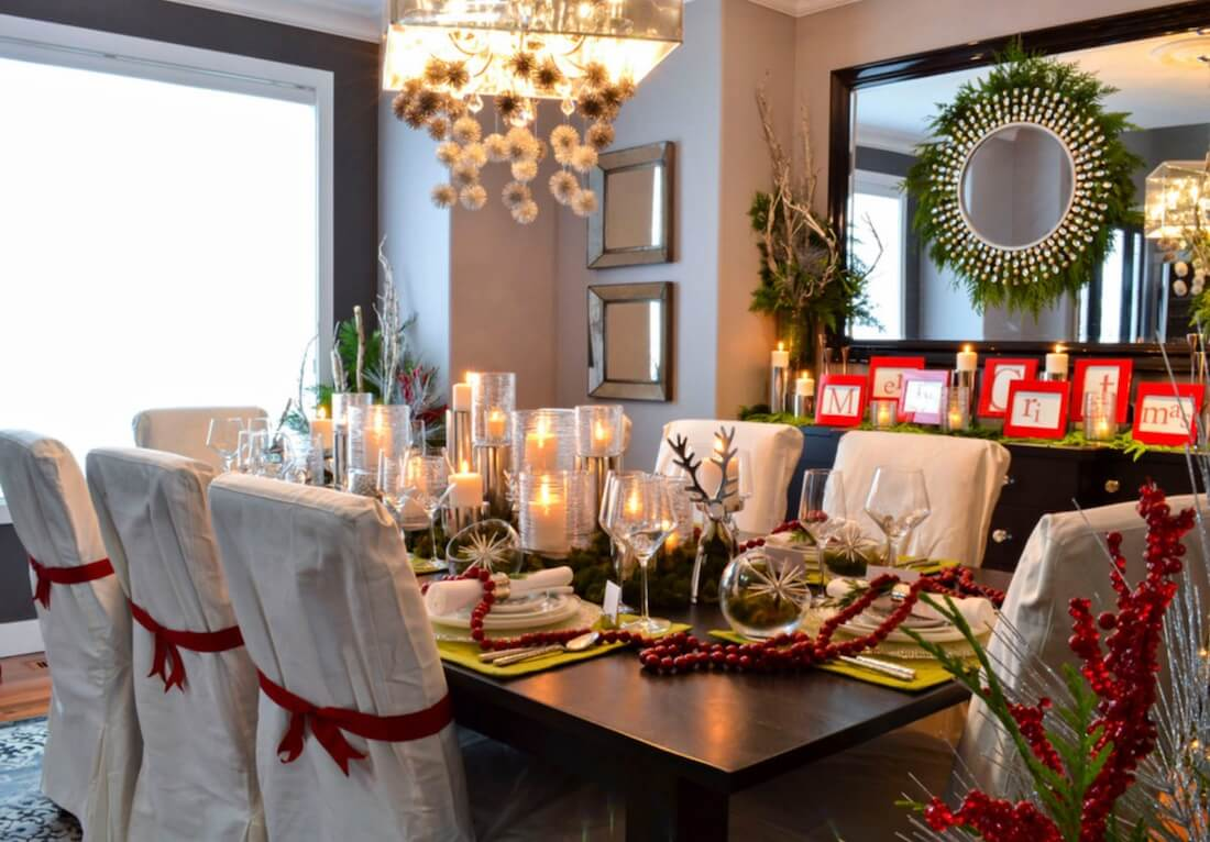 Country Christmas Table Setting Natural Textures