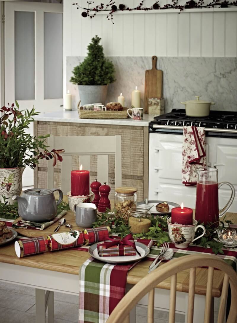 Country Christmas Table Setting Plaid Style