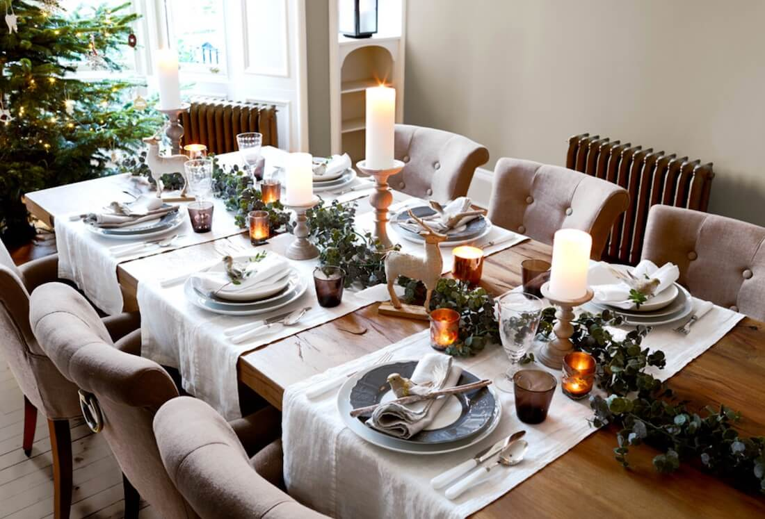 Country Christmas Table Setting Understated Look