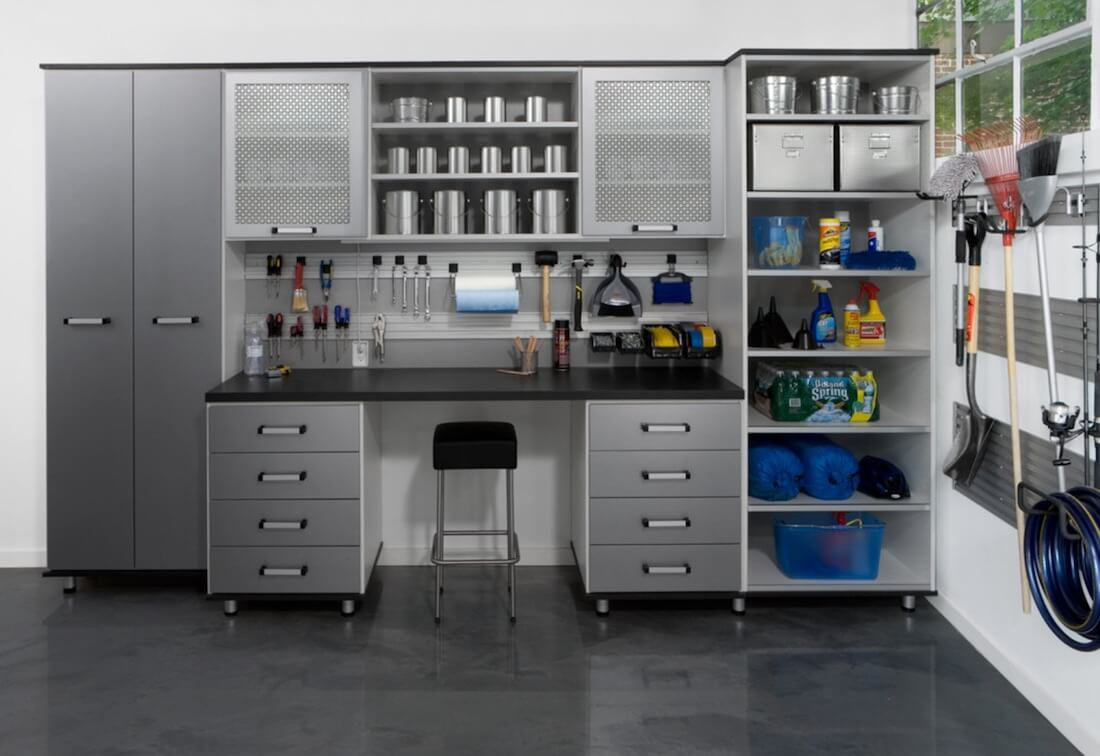 Organized Basement Workroom Organization