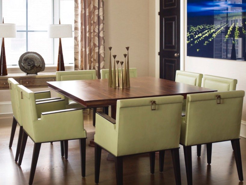 Decorating With Olive Green The Striking Leather Chairs In This Contemporary Dining Room