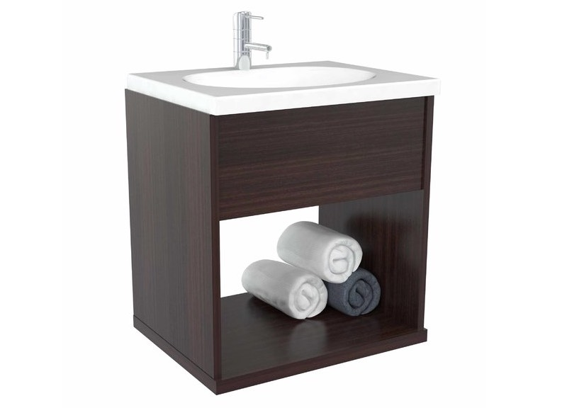 Meredith 19″ Bathroom Vanity Set at Wayfair, $167, featuring an open cubby for towels or baskets.
