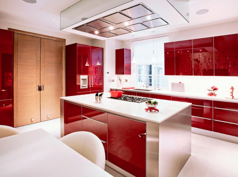 decorating with red cabinets