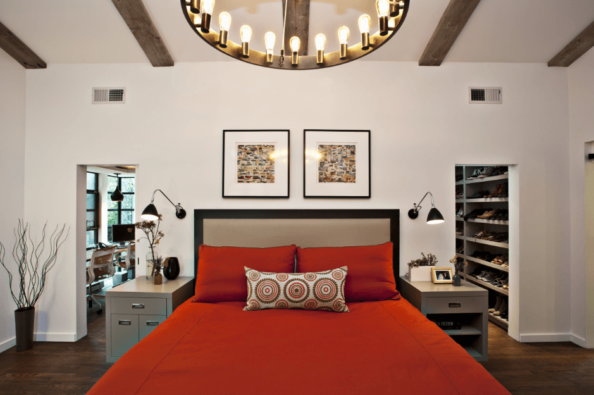 Neutral room with pop of orange