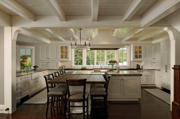 Kitchen with wood paneled ceiling