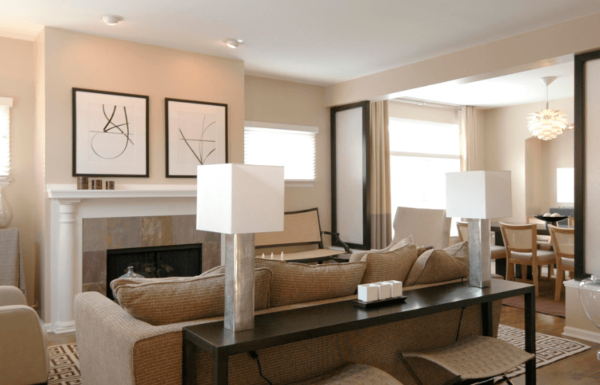 Bright family room outlets
