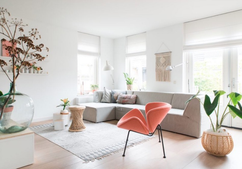 scandinavian design featuring peach, apricot and salmon decor
