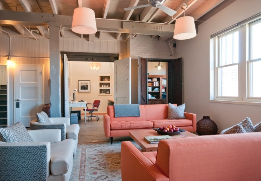 salmon color sofas