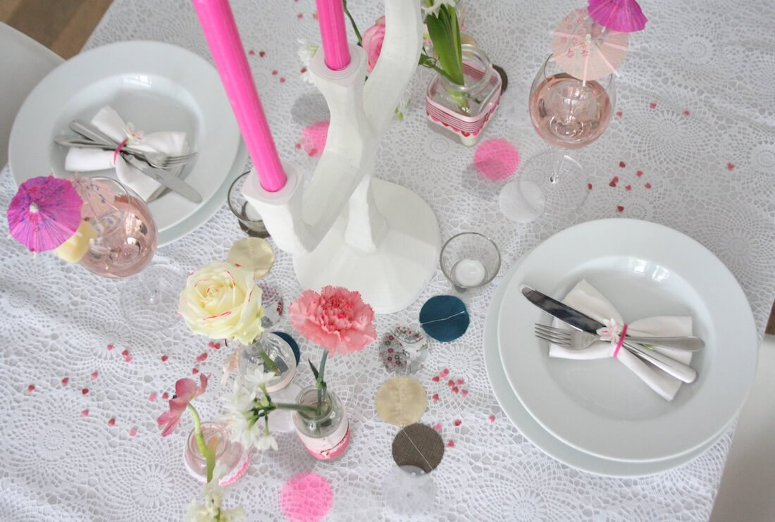 Valentine's Day Table Setting Neon Pink
