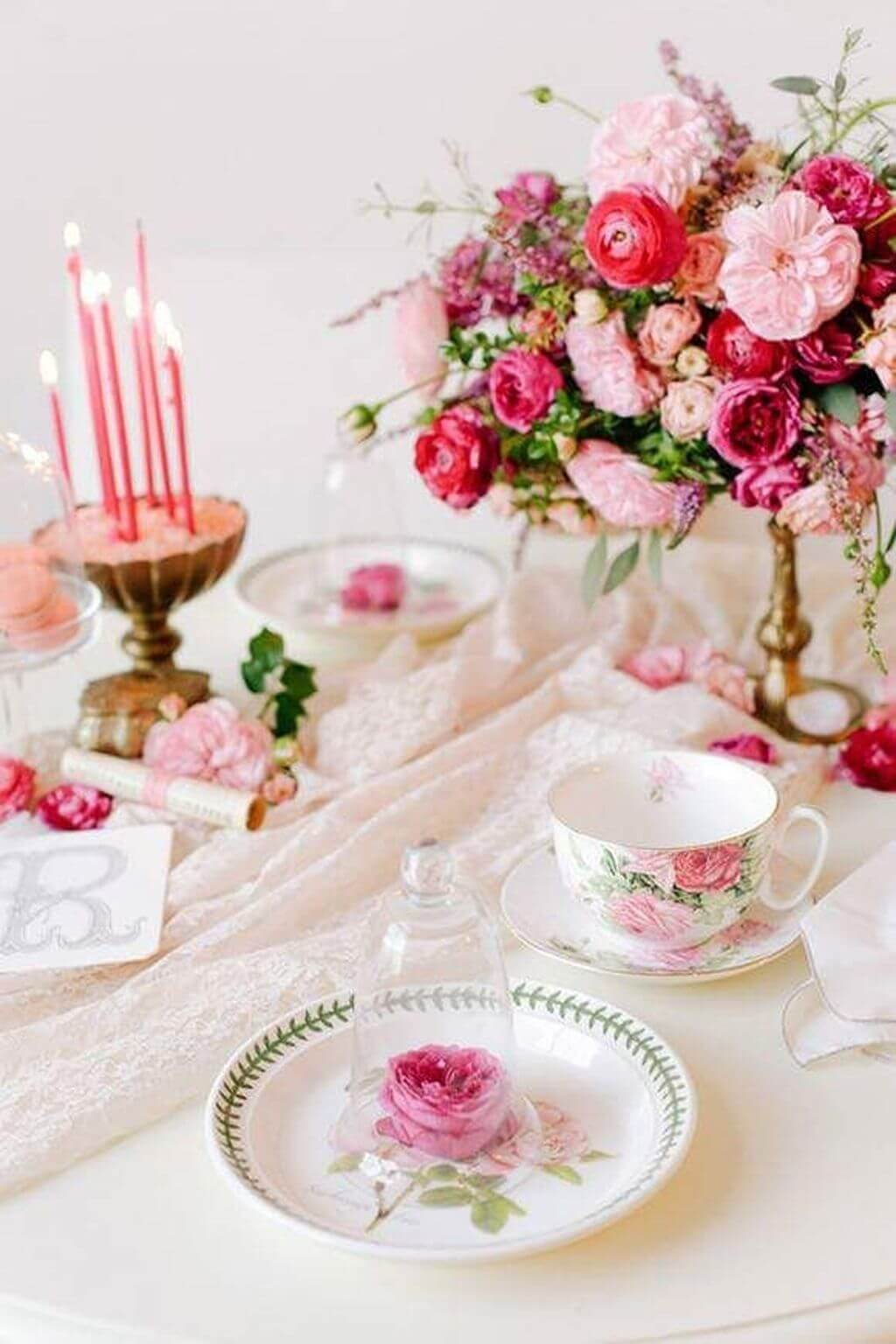 Valentine's Day Table Setting Victorian Romantic