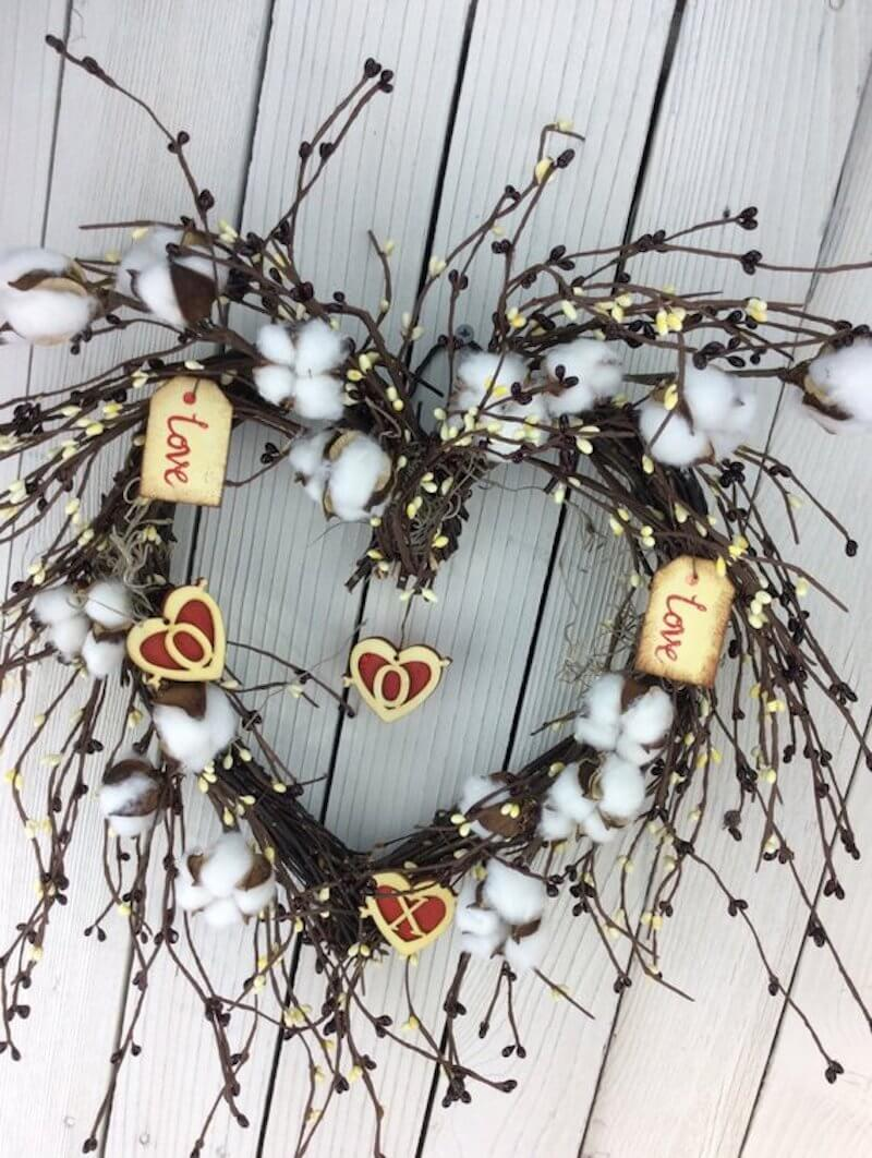 Valentine's Day Wreaths Cotton Heart