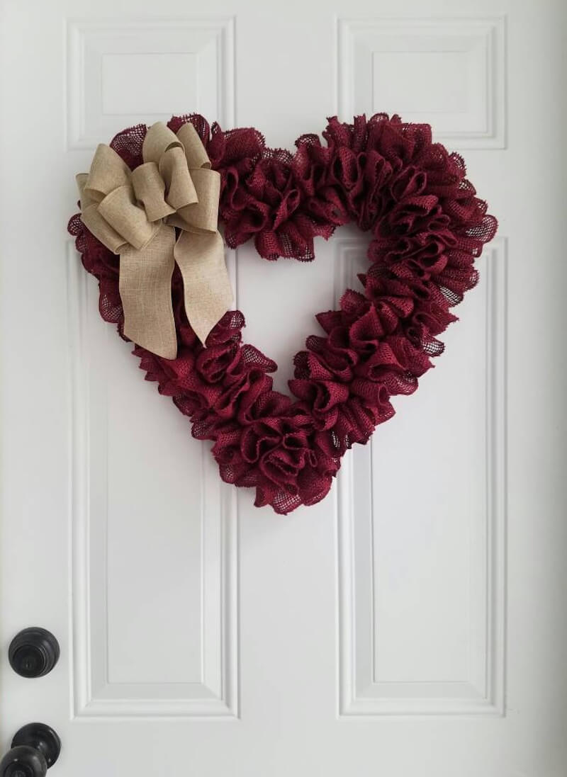 Valentine's Day Wreaths Dark Red Fabric