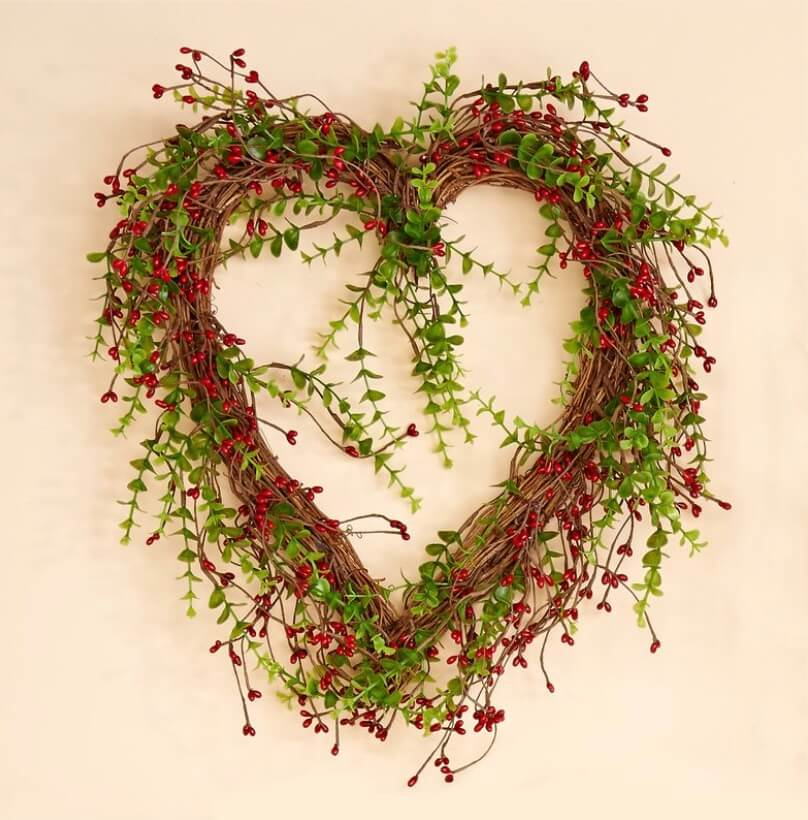 Valentine's Day Wreaths Foliage Berries Heart