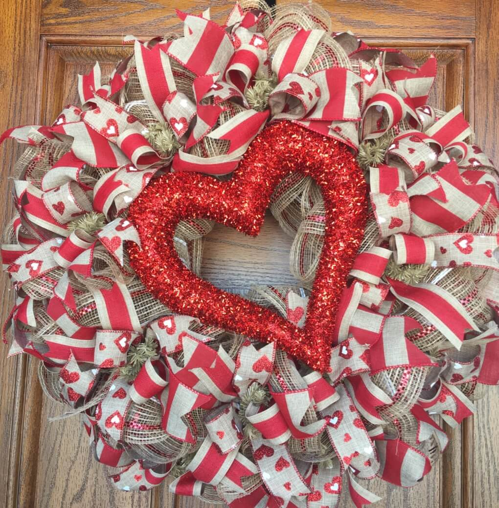 Valentine's Day Wreaths Tinsel Heart