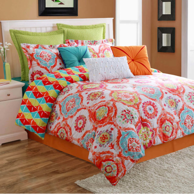 Living Coral Boho Bedroom