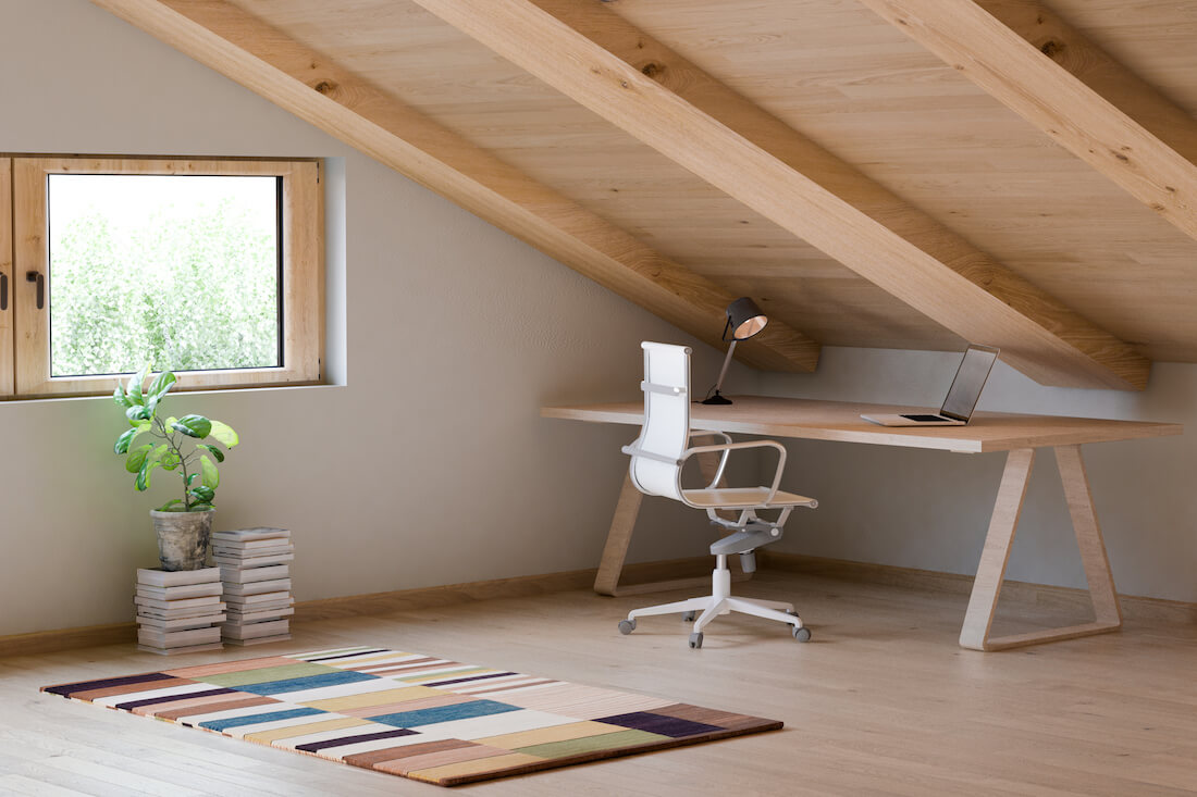 Rustic Attic Space Office Attic