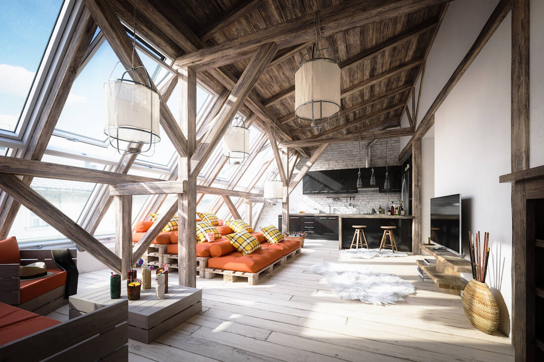 Rustic Attic Space Scandinavian Chic