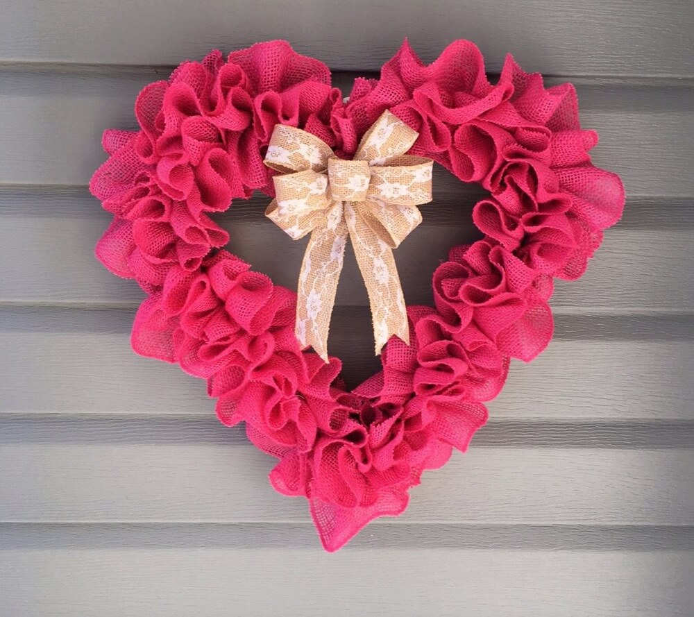 Valentine's Day Wreaths Bright Pink Heart