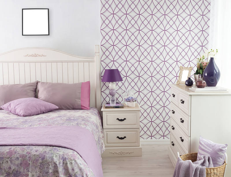 purple wallpaper ideas for the bedroom