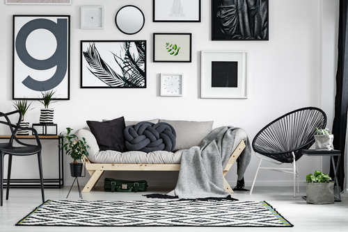 Gallery wall with plant prints