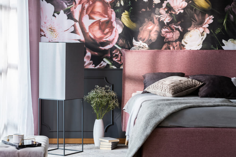 Florals Accent Wall Bedroom