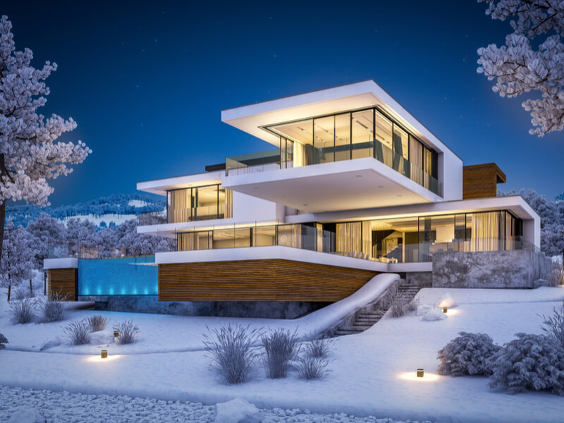 Modern home in the snow
