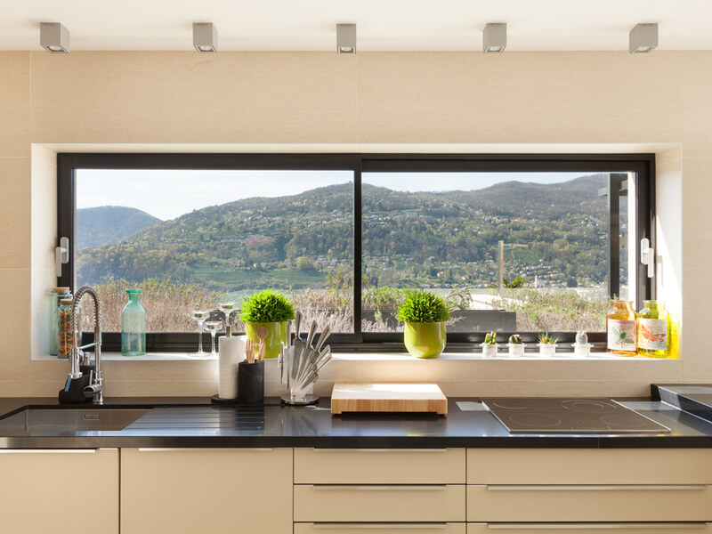 Modern kitchen with picture window