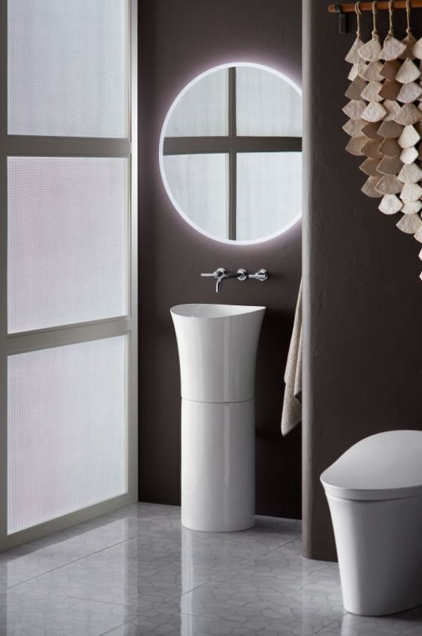 Pedestal sinks are space-savers.