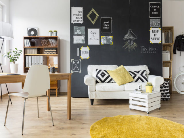 Modern living room with chalkboard wall