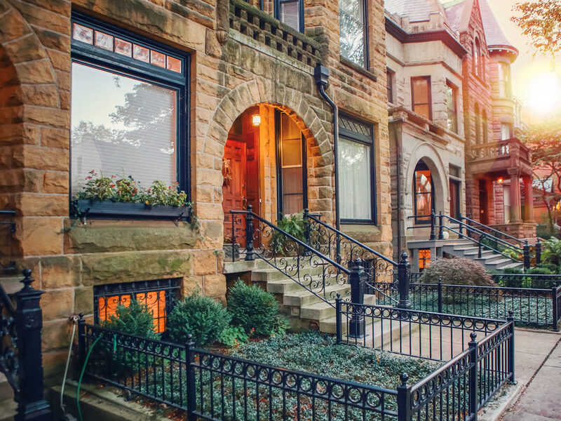 Traditional brownstone row homes