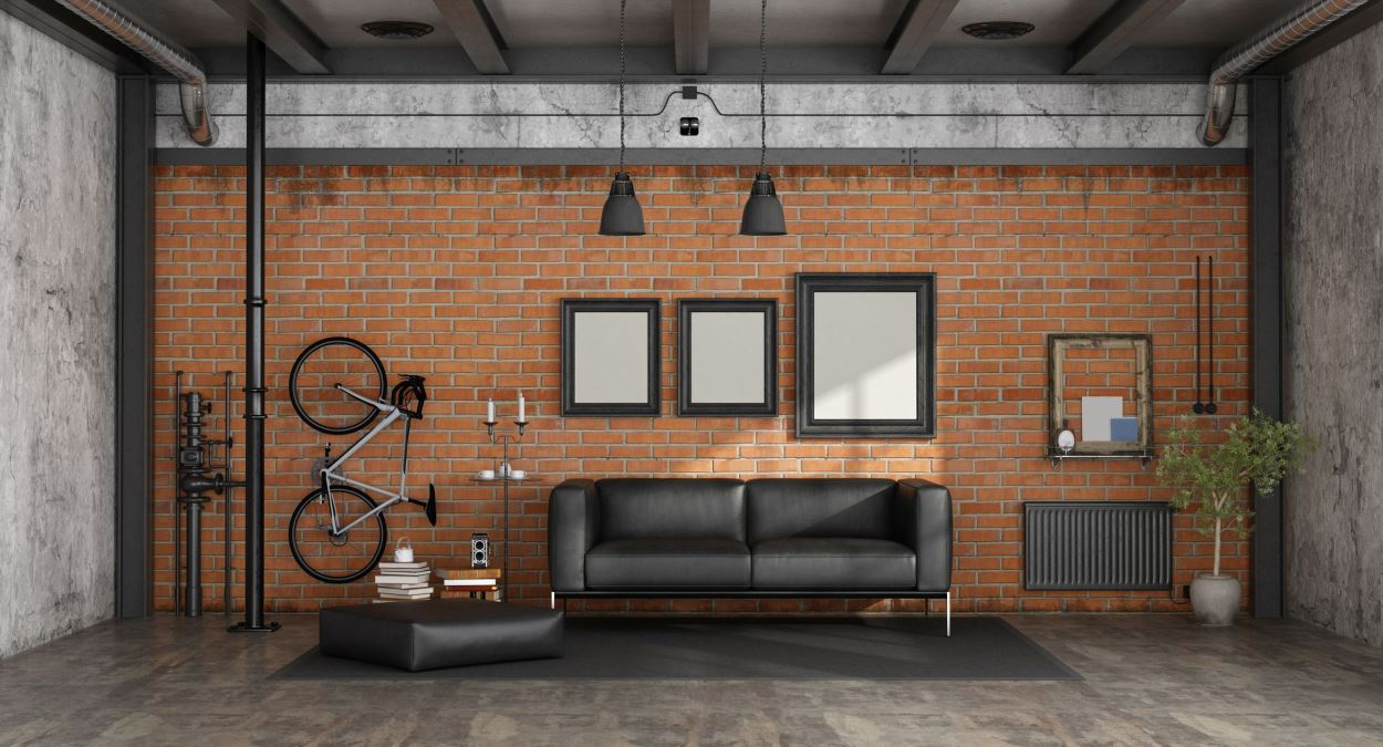 Exposed pipes go well with brick.