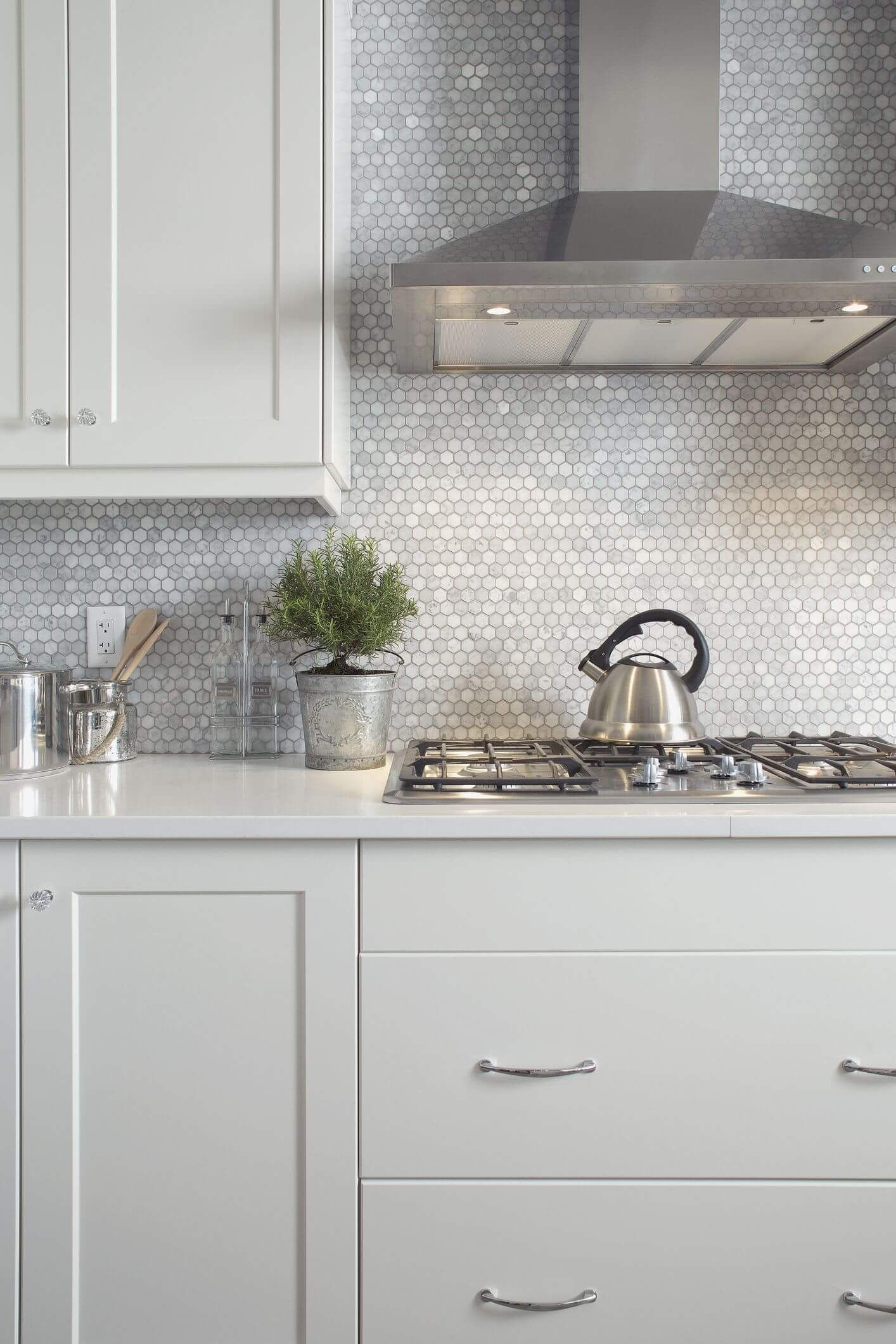 Countertops and backsplashes are popular materials to replace.