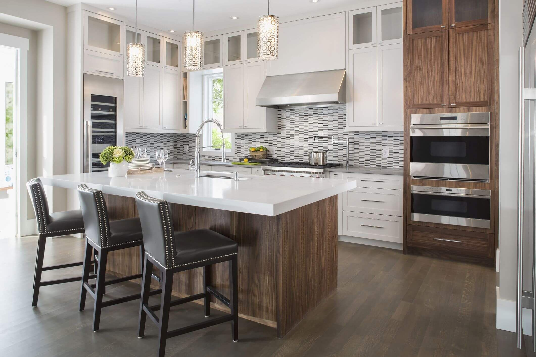 Engineered wood can be used on the floors and cabinets.