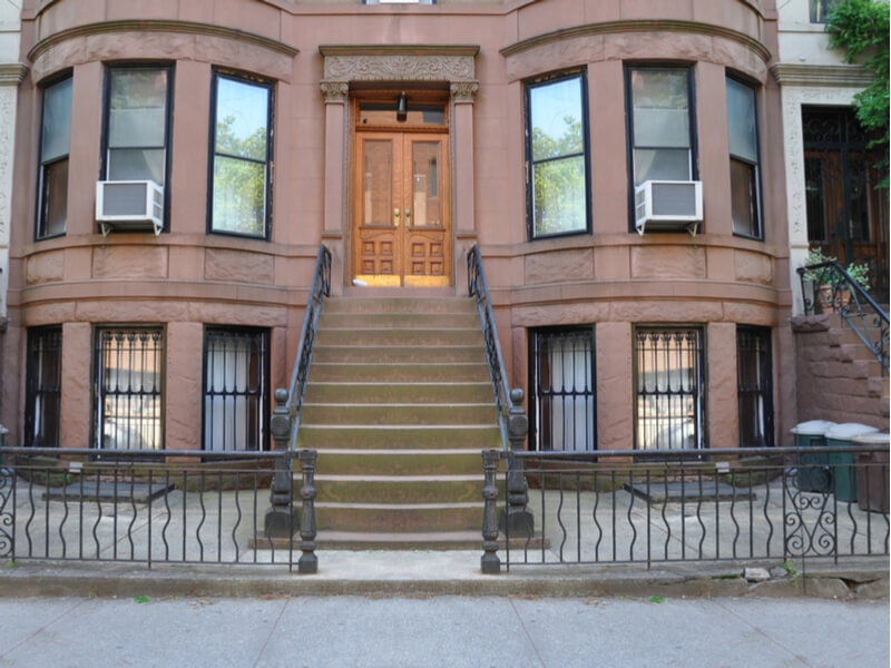 New York brownstones with window air conditioners