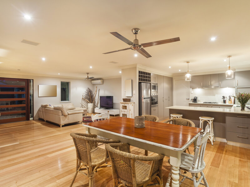Modern kitchen and large fan