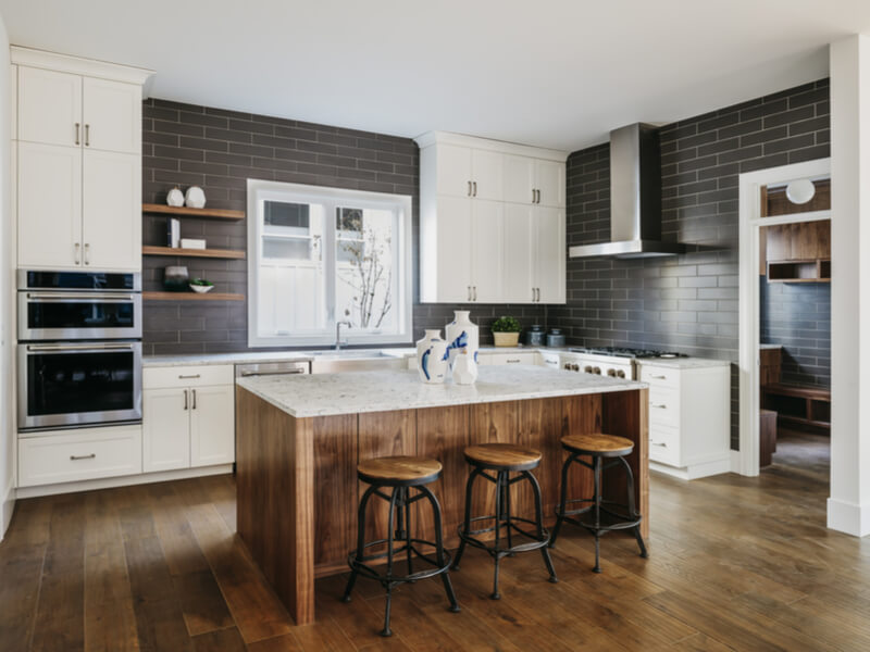 Modern kitcehn with gray cabinets