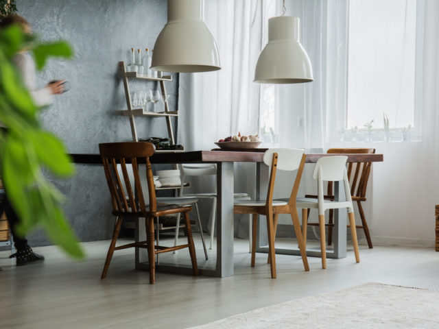 Mismatched kitchen table and chairs